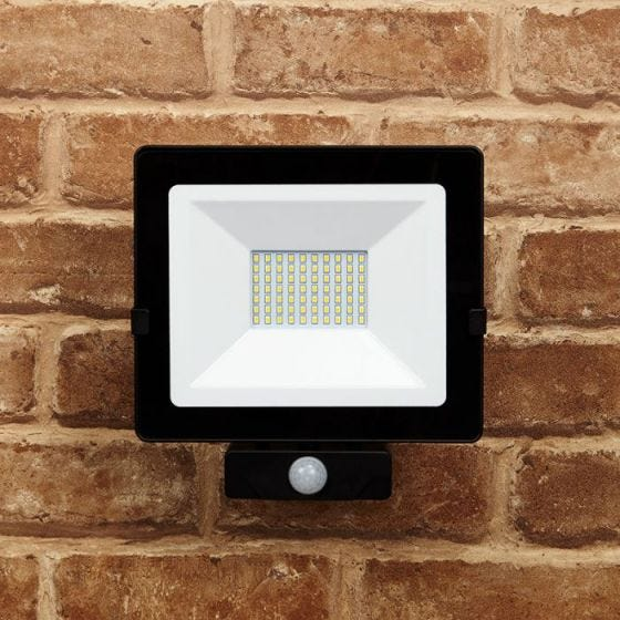 Lyco 50W Cool White LED Floodlight with PIR Sensor