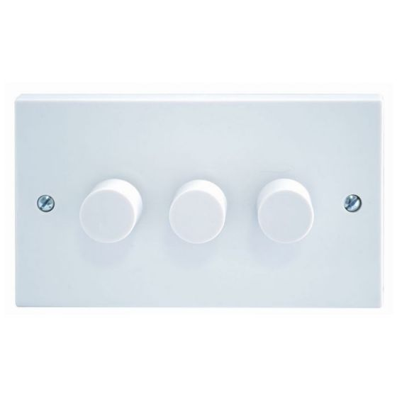 White Moulded 3 Gang 2 Way 400W Dimmer
