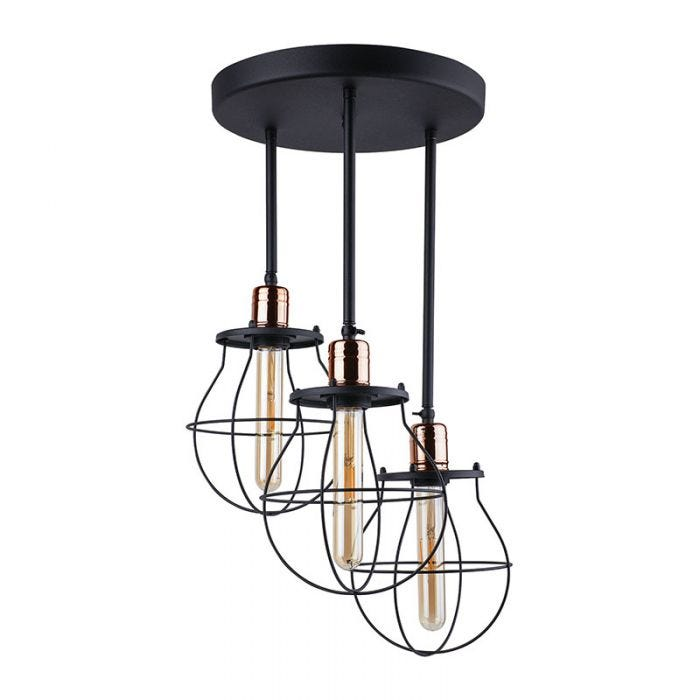 Edit Manufacture 3 Arm Semi Flush Ceiling Light Black And Copper Online Lighting