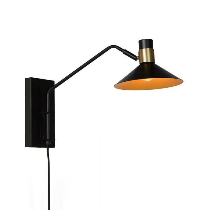Lucide Pepijn Wall Light With Plug Black Gold Online Lighting