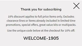 welcome discount explained- welcome code