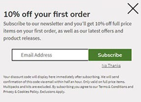 welcome discount explained- 10% off your first order